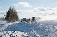 snow plow truck - Snowplow removing snow from intercity road from snow blizzard Stock Photo - Royalty-Freenull, Code: 400-04816629