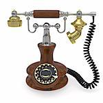 Old style telephone rendered with soft shadows on white background Stock Photo - Royalty-Free, Artist: LostINtrancE                  , Code: 400-04817731