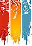 Three grunge flower banner, element for design, vector illustration