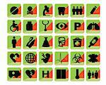 Medical icons set bio green and orange Stock Photo - Royalty-Free, Artist: icons                         , Code: 400-04820613