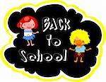 Back to school illustration with happy kids joy