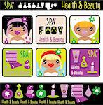 Big lady's health, beauty and spa icons set. Girls and objects emblem from big kids labels collection Stock Photo - Royalty-Free, Artist: Logo                          , Code: 400-04820921