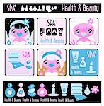 Big lady's health, beauty and spa icons set. Girls and objects emblem from big kids labels collection Stock Photo - Royalty-Free, Artist: Logo                          , Code: 400-04820926