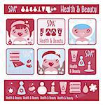 Big lady's health, beauty and spa icons set. Girls and objects emblem from big kids labels collection Stock Photo - Royalty-Free, Artist: Logo                          , Code: 400-04820949