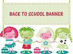 kids with banner back to school Stock Photo - Royalty-Free, Artist: icons                         , Code: 400-04821255
