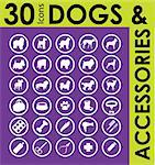 silhouettes of different breeds of dogs and accessories set Stock Photo - Royalty-Free, Artist: icons                         , Code: 400-04821277