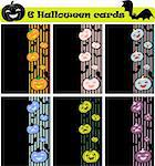 6 vector halloween cards, invitation or background with pumpkins and bats icons