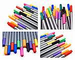 Collage of pens in different colors on a white background