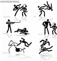 Olympic games see through an humor point of view. Set 4.  In detail: Tae Kwon Do, Judo, shooting, Boxing, Equestrian, Wrestling Stock Photo - Royalty-Freenull, Code: 400-04822574