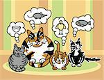 Vector illustration of a calico cat and her three kittens thinking.
