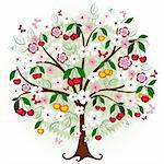 Decorative cherry tree with flowers, berries and butterflies (vector) Stock Photo - Royalty-Free, Artist: OlgaDrozd                     , Code: 400-04824510