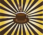 vector illustration of cup of coffee and sunburst background Stock Photo - Royalty-Free, Artist: lilac                         , Code: 400-04824744