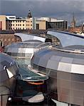 National Centre for Popular Music, Sheffield, 1999. Now closed. View across rooftop of Centre. Architects: Branson Coates Stock Photo - Premium Rights-Managed, Artist: Arcaid, Code: 845-04827141