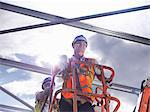 Construction workers in cherry picker Stock Photo - Premium Royalty-Free, Artist: IIC, Code: 649-04828560