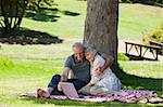 Senior couple  picnicking in the garden Stock Photo - Royalty-Free, Artist: 4774344sean                   , Code: 400-04831389