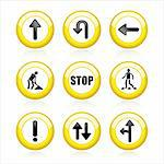 illustration of set traffic signs on isolated white background Stock Photo - Royalty-Free, Artist: vectomart                     , Code: 400-04831876