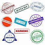 illustration of collection of different stamps on white background Stock Photo - Royalty-Free, Artist: vectomart                     , Code: 400-04831997