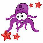 Cartoon illustration of octopus with starfish Isolated on white Stock Photo - Royalty-Free, Artist: dvarg                         , Code: 400-04834096
