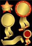 Set metallic awards on a black background (vector) Stock Photo - Royalty-Free, Artist: OlgaDrozd                     , Code: 400-04834634