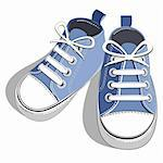 Blue children's shoes isolated on a white background. Vector illustration. Stock Photo - Royalty-Free, Artist: ElaKwasniewski                , Code: 400-04835863