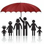 Silhouettes of woman man kid grandfather grandmother family under umbrella cover. Vector illustration. Element for design icon Stock Photo - Royalty-Free, Artist: svetap                        , Code: 400-04835939