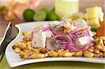 Peruvian-style ceviche made out of raw mahi-mahi fish (Spanish: perico), red onions and aji (Peruvian hot pepper) and served with roasted corn (cancha) and cooked corn. In the back Peruvian cocktail called