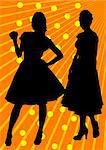 Vector drawing of two slender girls in dresses