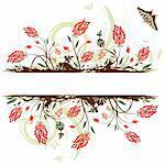 Grunge flower frame with butterfly, element for design, vector illustration