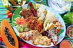 Assorted mexican food dish chili sauces papaya tequila Stock Photo - Royalty-Free, Artist: lunamarina                    , Code: 400-04837507