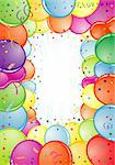 Birthday Frame with Balloon, Streamer and confetti, element for design, vector illustration Stock Photo - Royalty-Free, Artist: TAlex                         , Code: 400-04837581