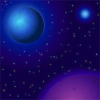 Vector fantastic background, space, planets, sun and stars Stock Photo - Royalty-Freenull, Code: 400-04837695