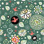 repeated spring floral pattern with red birds on a dark green background Stock Photo - Royalty-Free, Artist: tanor                         , Code: 400-04838806