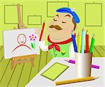 The artist draws a picture in studio Stock Photo - Royalty-Free, Artist: stocker                       , Code: 400-04839278