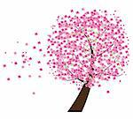 vector illustration of a cherry tree in the wind