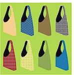 vector set of three reusable shopping bags with various patterns Stock Photo - Royalty-Free, Artist: fthes                         , Code: 400-04841292