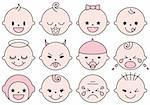 set of cute baby faces, vector illustration