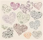 Set of ornamental heart-shapes Stock Photo - Royalty-Free, Artist: dremesov                      , Code: 400-04842377
