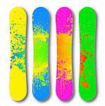 Vector art snowboard set with grunge illustration Stock Photo - Royalty-Free, Artist: emaria                        , Code: 400-04843545