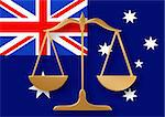 Scales on top of a flag of Australia Stock Photo - Royalty-Free, Artist: darrenwhi                     , Code: 400-04846341