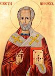 Icon of Saint Nicholas orthodox style on golden background Stock Photo - Royalty-Free, Artist: lindom                        , Code: 400-04847309