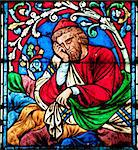 Stained glass decoration in Notre Dame cathedral in Paris Stock Photo - Royalty-Free, Artist: lindom                        , Code: 400-04847375