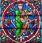 Stained glass decoration in Notre Dame cathedral in Paris Stock Photo - Royalty-Free, Artist: lindom                        , Code: 400-04847377