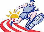 illustration Marathon runner on track with sunburst viewed from an extremely low angle. Stock Photo - Royalty-Free, Artist: patrimonio                    , Code: 400-04848108