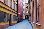 Narrow street in Gamla Stan, Stockholm Stock Photo - Royalty-Free, Artist: aniad                         , Code: 400-04850889