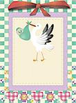 nice baby  card with the stork