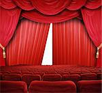 classic cinema with red seats Stock Photo - Royalty-Free, Artist: photochecker                  , Code: 400-04854727