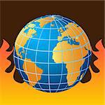 Globe in fire, global warming Stock Photo - Royalty-Free, Artist: soleilc                       , Code: 400-04855147