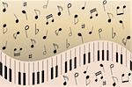 Various music notes on piano