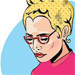 Pop Art Woman comic book style with dot Stock Photo - Royalty-Free, Artist: icons                         , Code: 400-04858548