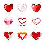 illustration of different types of hearts on white background
